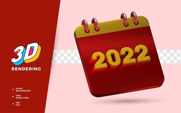 Calendrier d'objet isolé de rendu 3d du nouvel an 2022