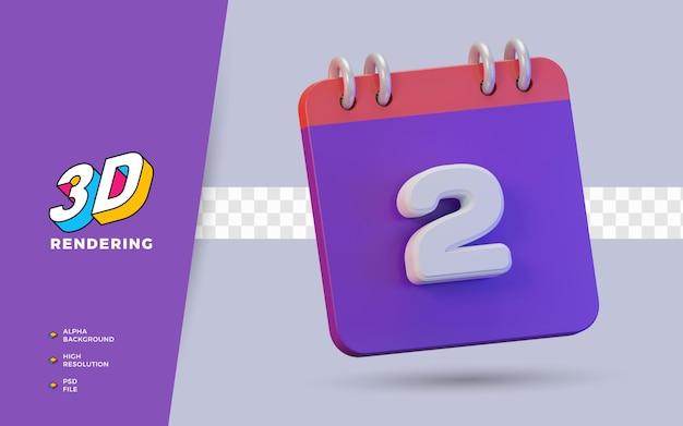 Calendrier de rendu 3d de 2 jours pour un rappel ou un calendrier quotidien