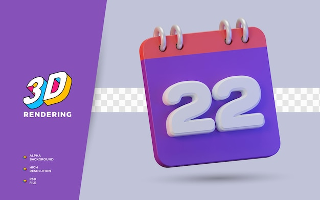 Calendrier de rendu 3d de 22 jours pour un rappel ou un calendrier quotidien