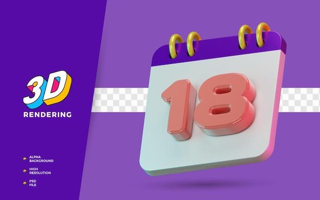 Calendrier de symbole isolé de rendu 3d de 18 jours pour un rappel quotidien ou une planification