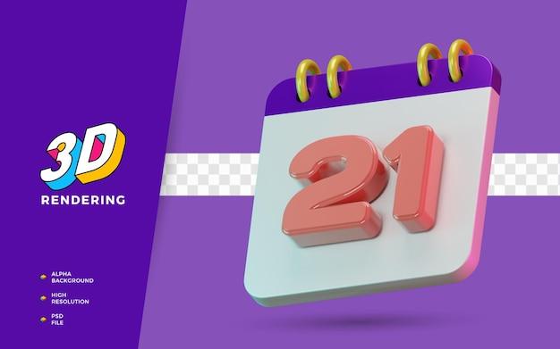 Calendrier de symbole isolé de rendu 3d de 21 jours pour un rappel quotidien ou une planification