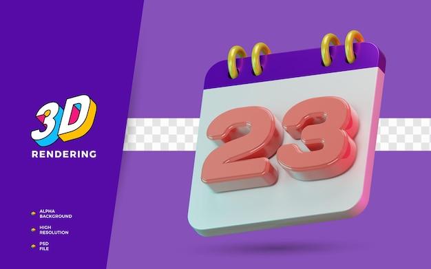 Calendrier de symbole isolé de rendu 3d de 23 jours pour un rappel quotidien ou une planification