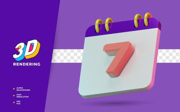 Calendrier de symbole isolé de rendu 3d de 7 jours pour un rappel quotidien ou une planification