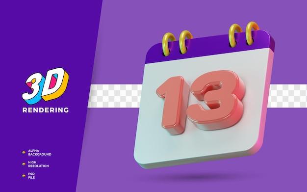 Calendrier de symboles isolés de rendu 3d de 13 jours pour un rappel quotidien ou une planification