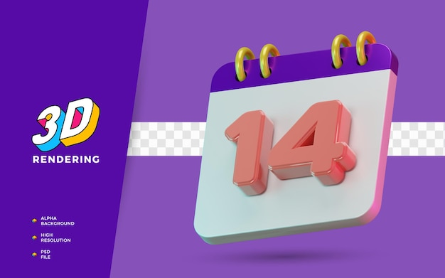 Calendrier de symboles isolés de rendu 3d de 14 jours pour un rappel quotidien ou une planification