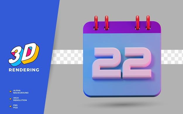 Calendrier de symboles isolés de rendu 3d de 22 jours pour un rappel quotidien ou une planification