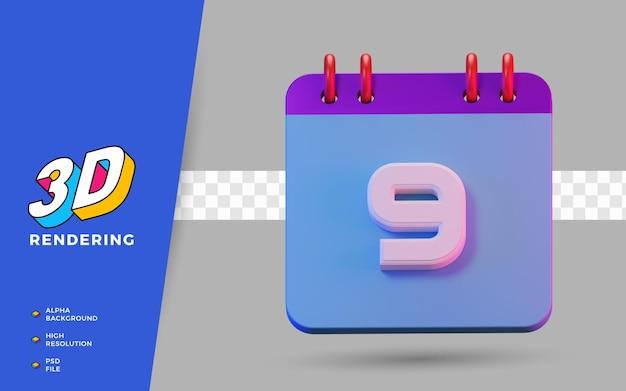 Calendrier de symboles isolés de rendu 3d de 9 jours pour un rappel quotidien ou une planification