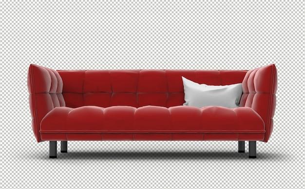 Canapé 3d. mur transparent. vue de face.