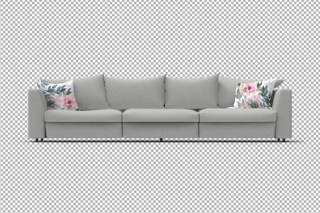 Canapé 3d avec oreillers isolés