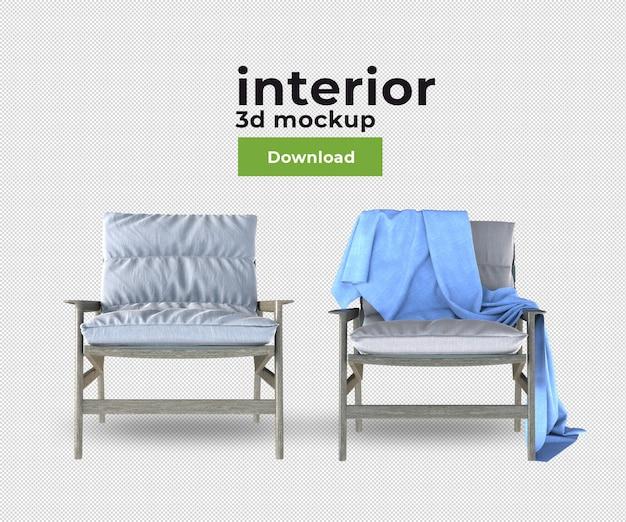 Canapé de chaise de décoration en rendu 3d