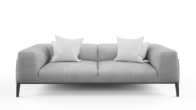 Canapé gris deux places avec deux coussins, isolé