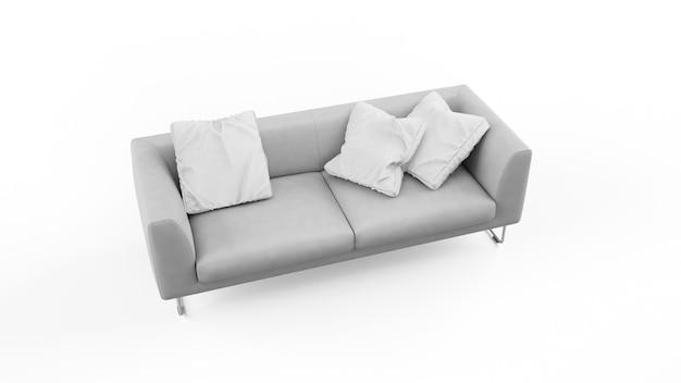 Canapé gris élégant avec coussins isolés
