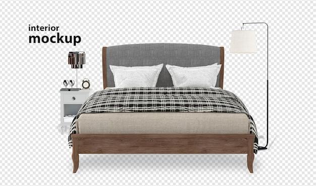 Canapé gros plan sur le rendu 3d de maquette intérieure