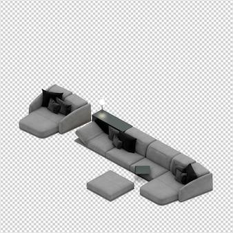 Canapé isométrique rendu 3d isolé