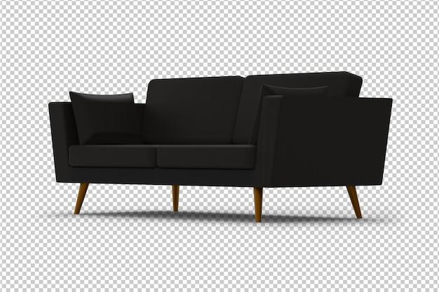 Canapé noir isolé