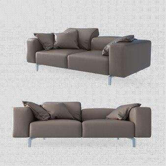 Canapé et oreillers en rendu 3d
