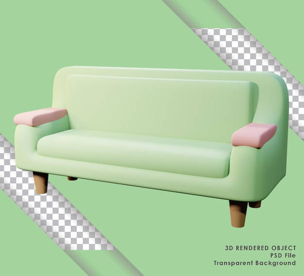 Canapé de rendu 3d vert mignon avec fond transparent