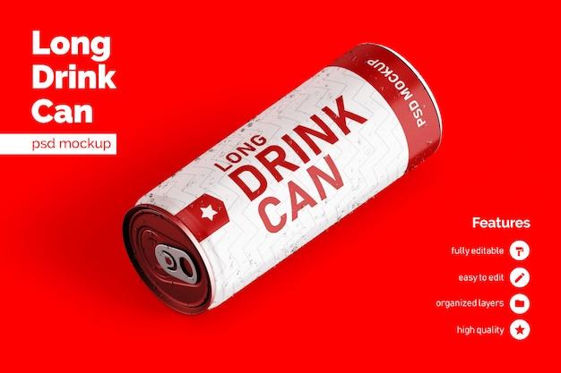 Canette de boisson longue réaliste en aluminium