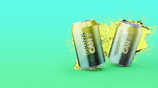 Canette de soda personnalisable de qualité supérieure avec des maquettes d'éclaboussures d'eau