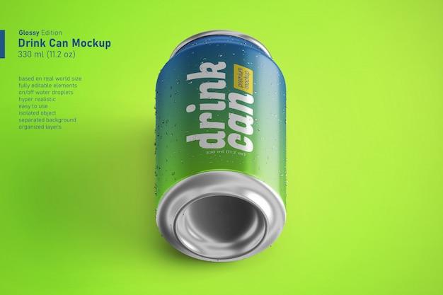 Canette de soda simple en aluminium réaliste dans des maquettes premium de 330 ml en vue isométrique