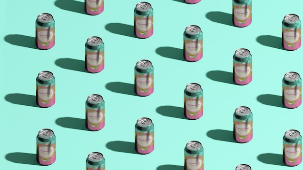 Canettes de soda isométriques avec fond bleu