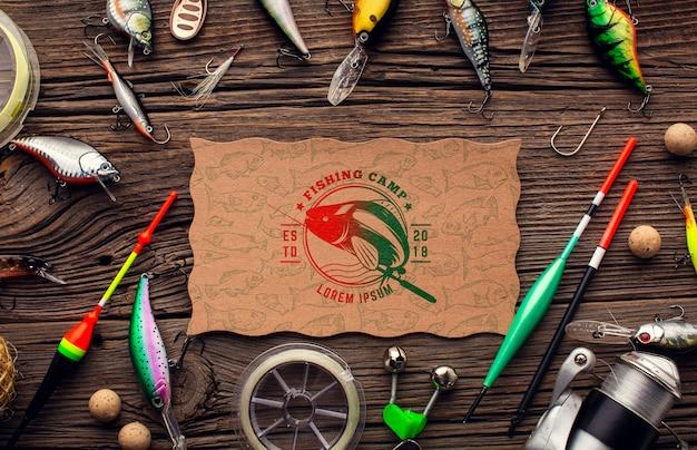 Canne plate et accessoires de pêche avec appât
