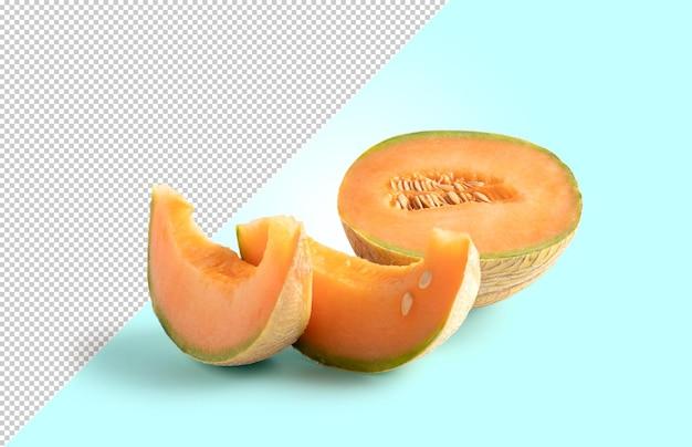 Cantaloup coupé en deux et tranche sur fond modifiable