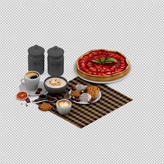 Cappuccino chaud et desserts rendu 3d isolé