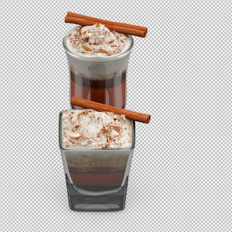 Cappuccino chaud rendu 3d isolé