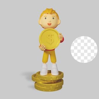 Caractère de garçon de rendu 3d avec pièce d'or