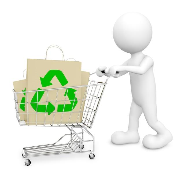 Caractère en trois dimensions avec sac en papier de signe de recyclage