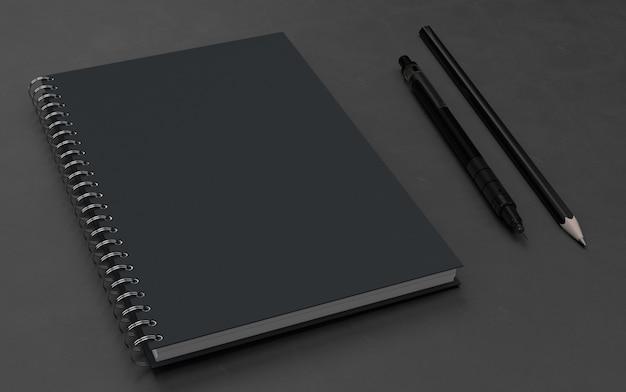 Carnet de notes avec maquette de stylo