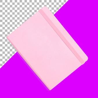 Carnet de notes rose isolé avec ruban