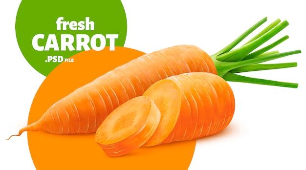 Carotte isolée, bannière végétale