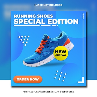 Carré de chaussures de sport médias sociaux avec bleu