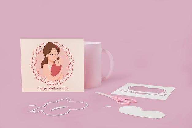Carte d'amour de la fête des mères avec concept de maquette