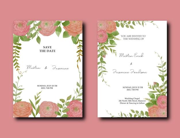 Carte de conception d'invitation de mariage avec paquet de décoration de fleur de pivoine