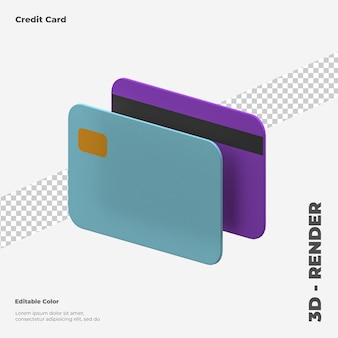 Carte de crédit 3d rendu 3d isolé