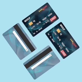 Carte de débit carte à puce carte en plastique maquette vue avant et arrière