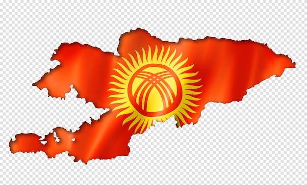 Carte drapeau du kirghizistan, rendu en trois dimensions, isolé sur blanc