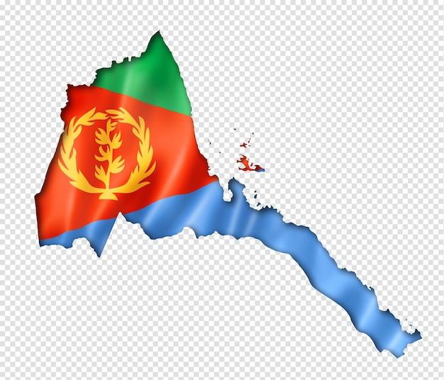 Carte drapeau de l'érythrée, rendu en trois dimensions, isolé sur blanc