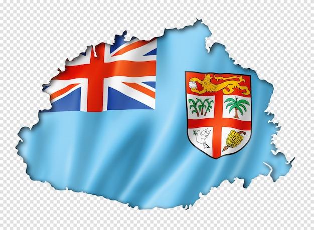 Carte drapeau fidji, rendu en trois dimensions, isolé sur blanc
