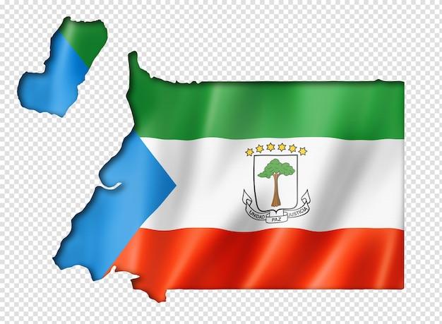 Carte drapeau de la guinée équatoriale, rendu en trois dimensions, isolé sur blanc