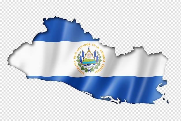 Carte du drapeau du salvador, rendu en trois dimensions, isolé sur blanc