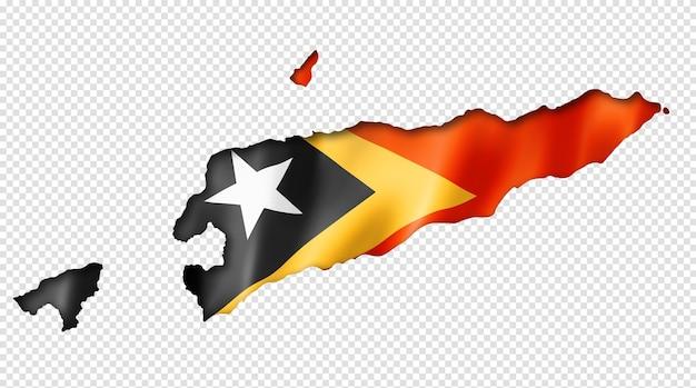 Carte du drapeau du timor oriental, rendu en trois dimensions, isolé sur blanc