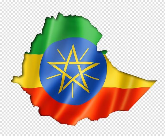 Carte du drapeau de l'éthiopie, rendu en trois dimensions, isolé sur blanc