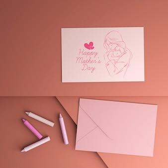 Carte de fête de la fête des mères et enveloppe avec maquette