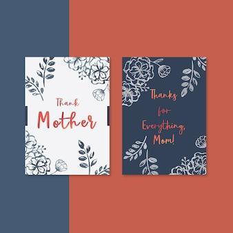 Carte de fête des mères avec fleurs contrastées