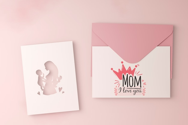 Carte de fête des mères vue de dessus avec enveloppe