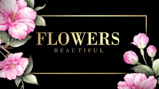 Carte d'invitation avec des fleurs de sakura.